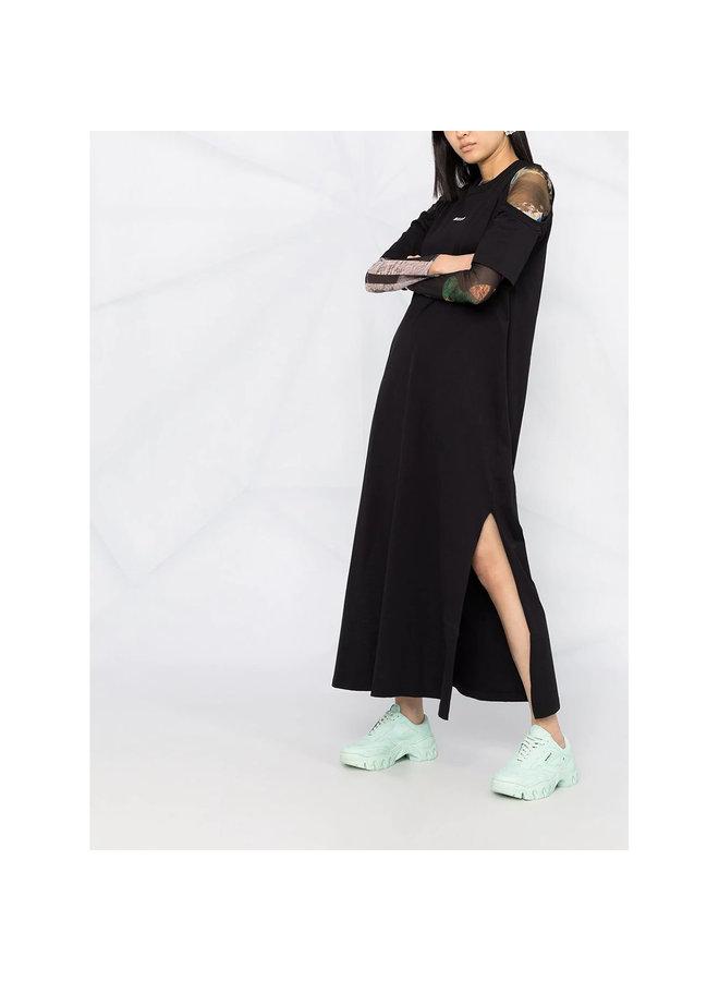 Logo Long T-shirt Dress in Cotton in Black