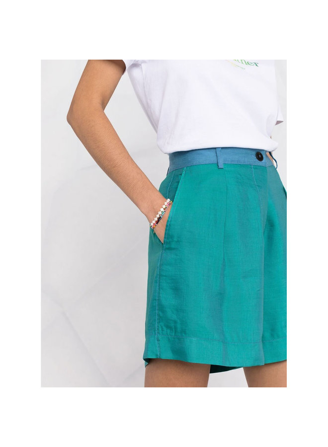 Shorts in Two Tone Cotton Linen in Mare