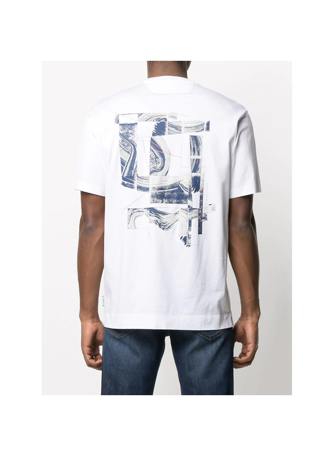Z Zegna Crew Neck Graphic Print T-shirt in Cotton in White