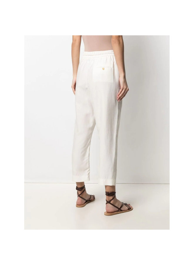 Drawstring Casual Pants in Cotton in Ivory