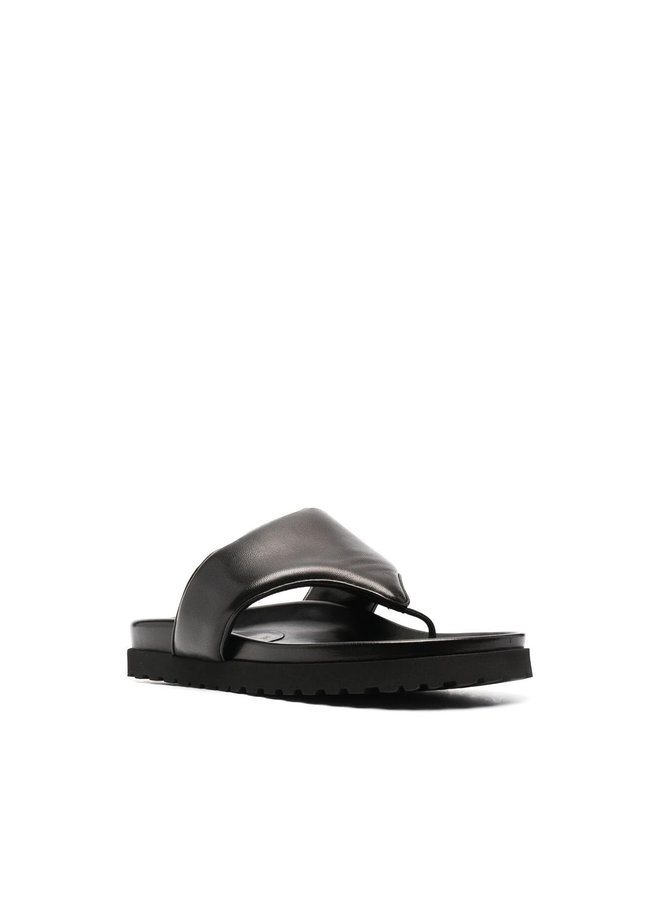 Flat Thong-Strap Mules in Leather in Black