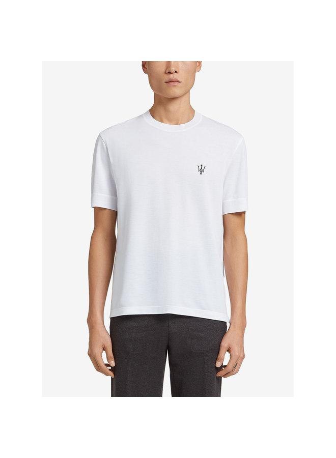 Ermenegildo Zegna Maserati Embroidered Logo T-shirt in Cotton in White