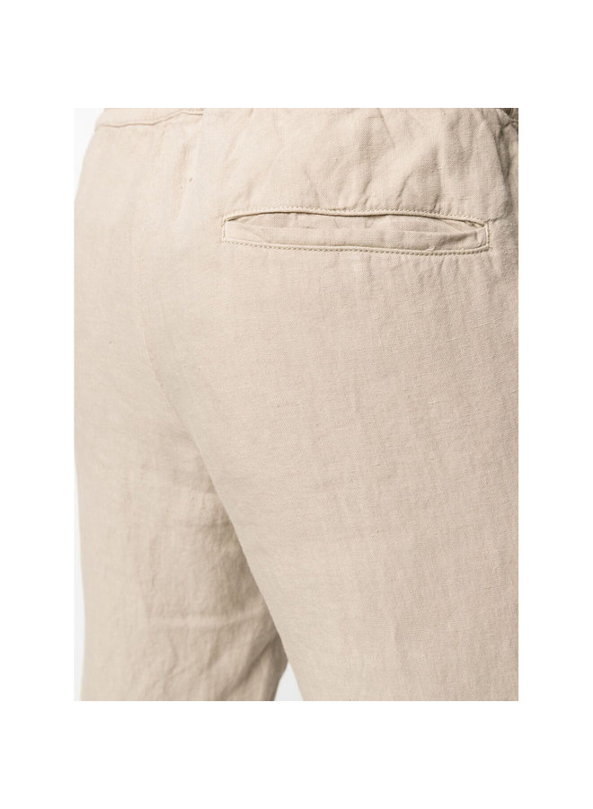 Z Zegna Drawstring Straight Leg Pants in Linen in Light Taupe