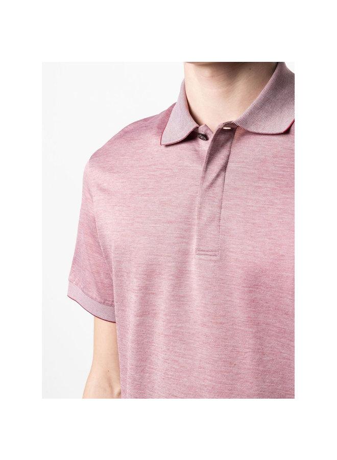 Ermenegildo Zegna Polo T-Shirt in Cotton in Pinkish Red