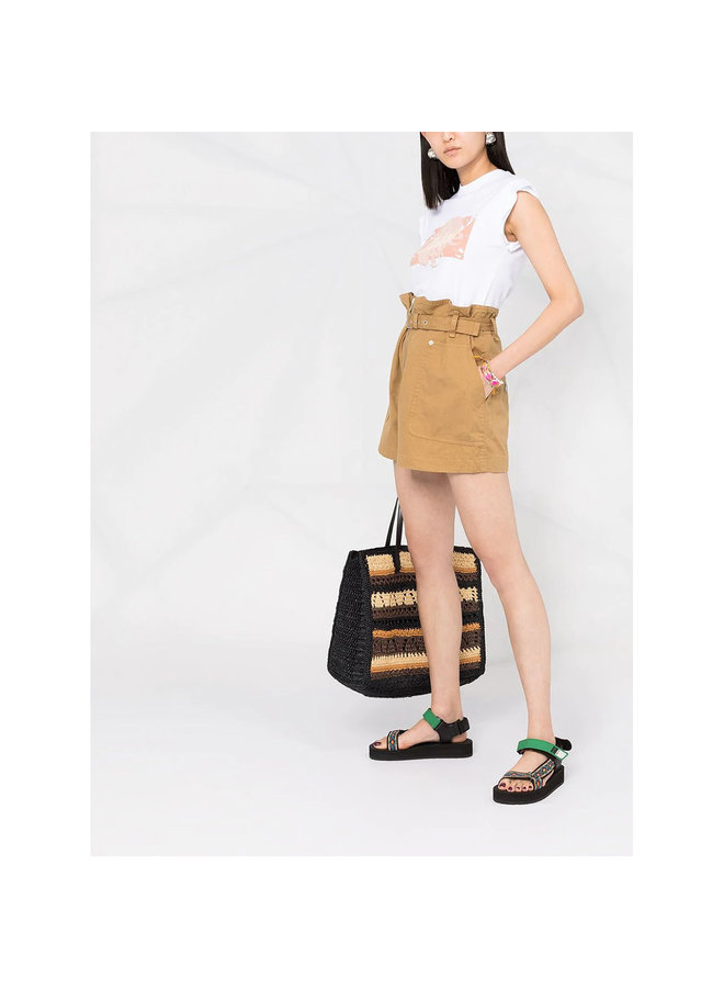High Waisted Belted Shorts in Cotton Linen in Camel