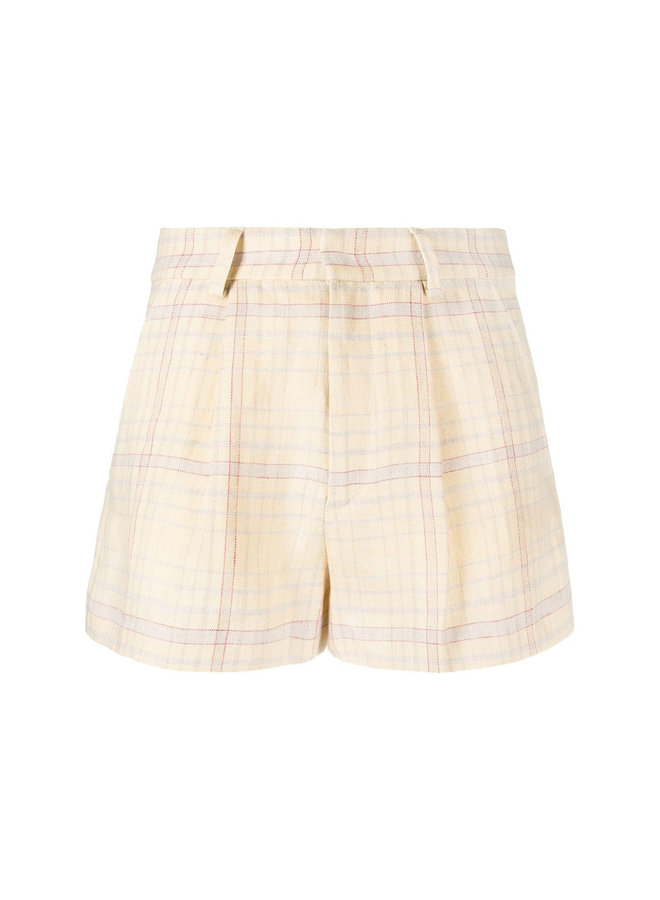 Shorts in Fine Check Print in Linen in Light Yellow
