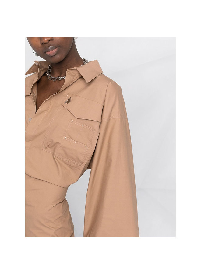 Mini Shirt Dress with Bell Sleeves in Cotton in Beige