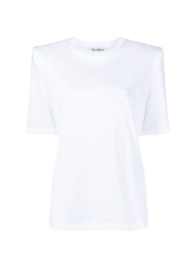 T-shirt with Padded Shoulders in Cotton in White