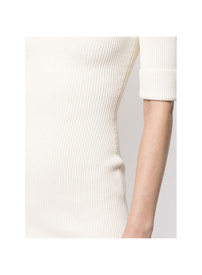 Midi Short Sleeve Dress in Ribbed Knit in Ivory