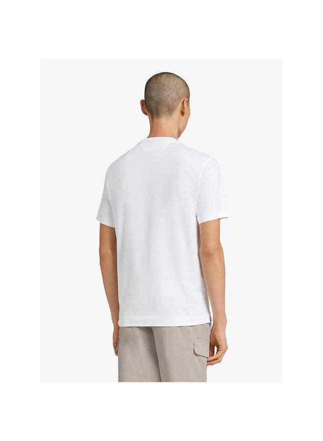 Z Zegna Crew Neck Graphic T-shirt in Cotton in White
