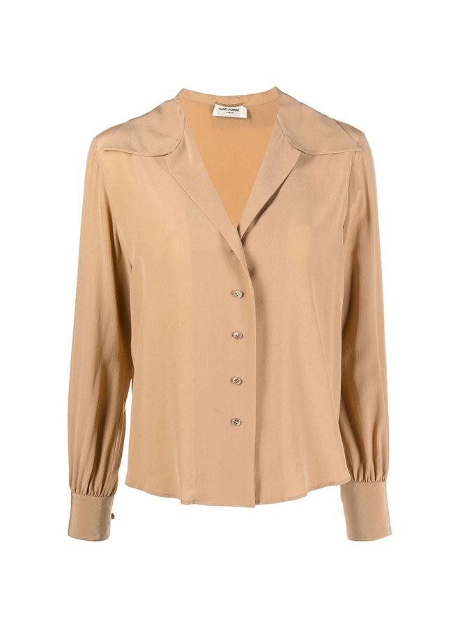 Open Collar Long Sleeve Blouse in Silk in Beige Rose
