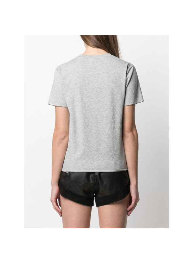 Crew Neck Printed T-shirt in Cotton in Grey