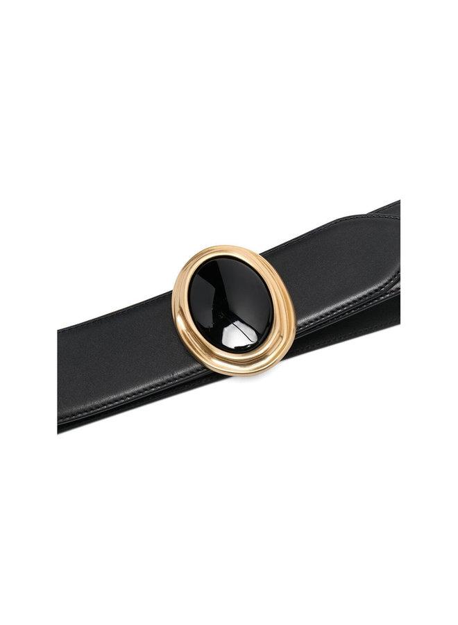 Oval Buckle Belt in Leather in Black