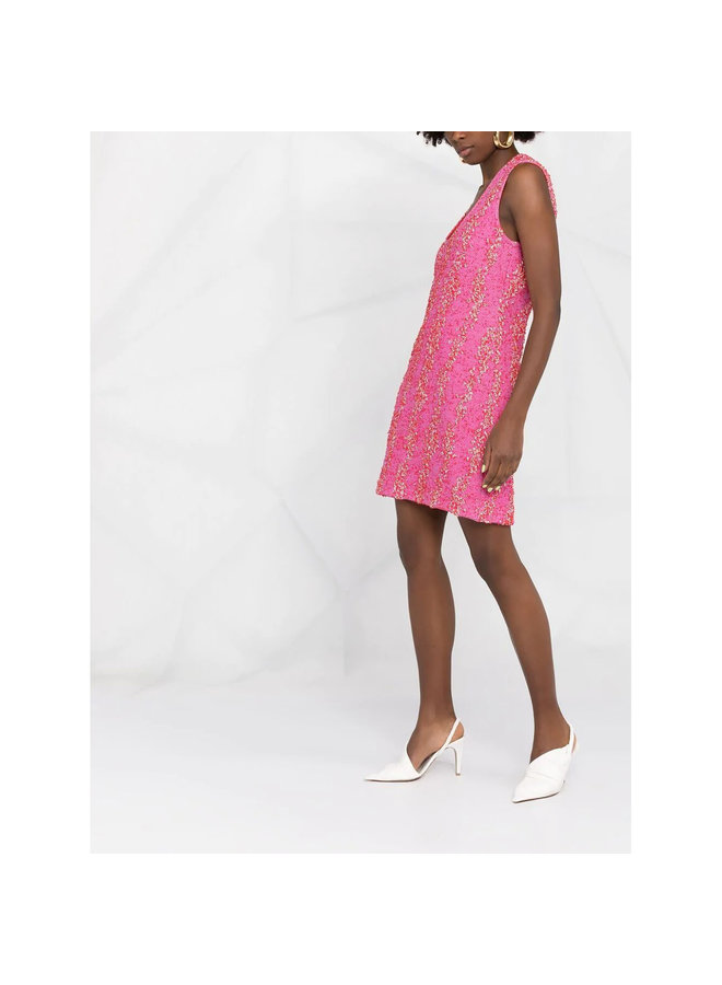Mini Dress in Bouclé Design in Bubble Gum