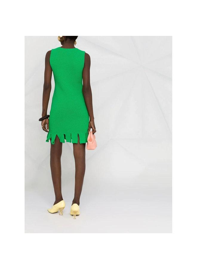 Mini Dress with Fringed Hem in Parakeet Green