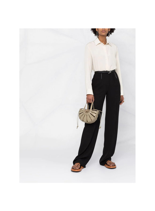 The Shell Mini Crossbody Bag in Leather in Taupe