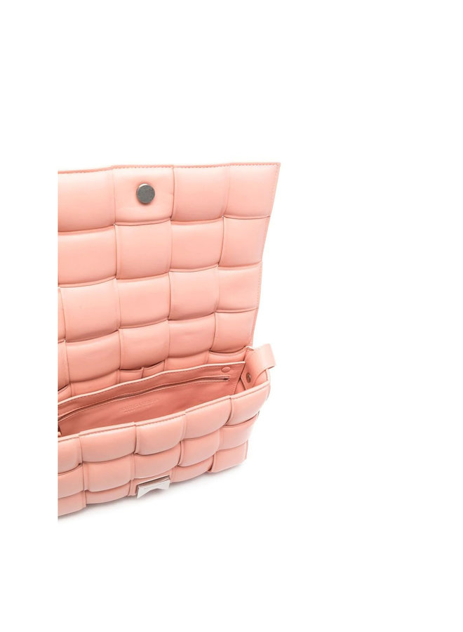 Padded Cassette Shoulder Bag in Leather in Peach