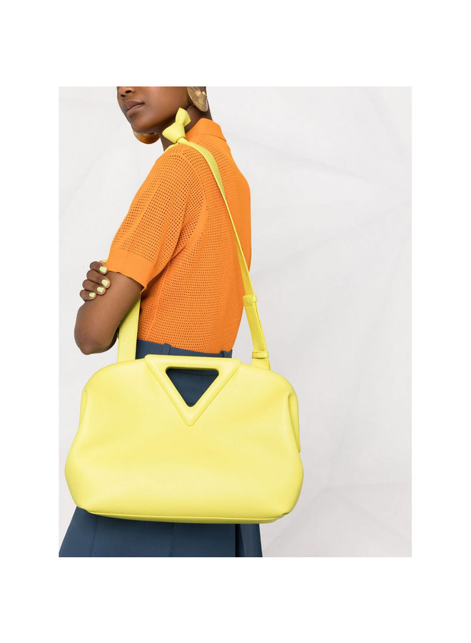 Large Triangle Shoulder Bag in Leather in Seagrass
