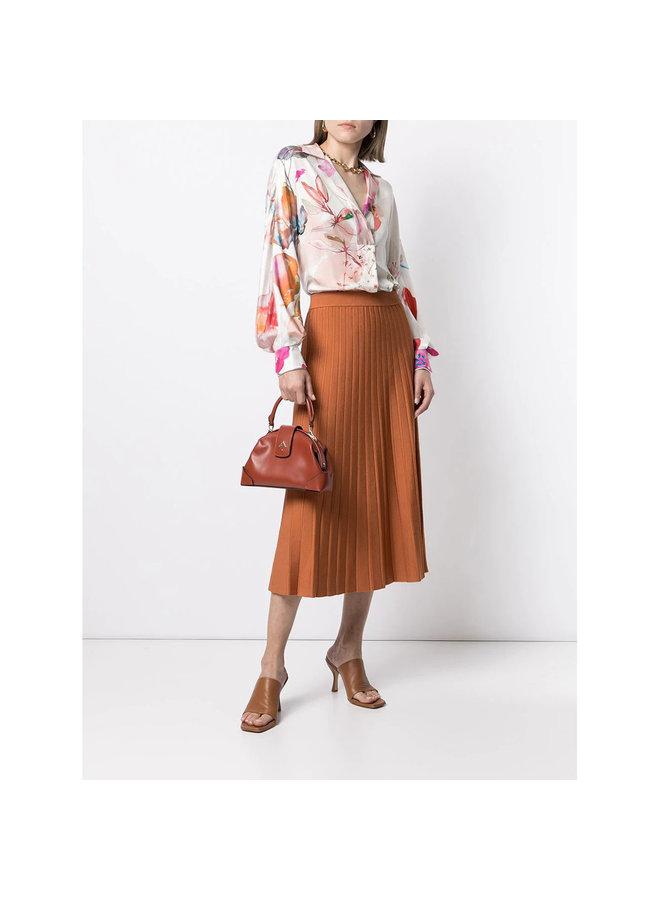 Long Sleeve Blouse in Silk Floral Print in Rose