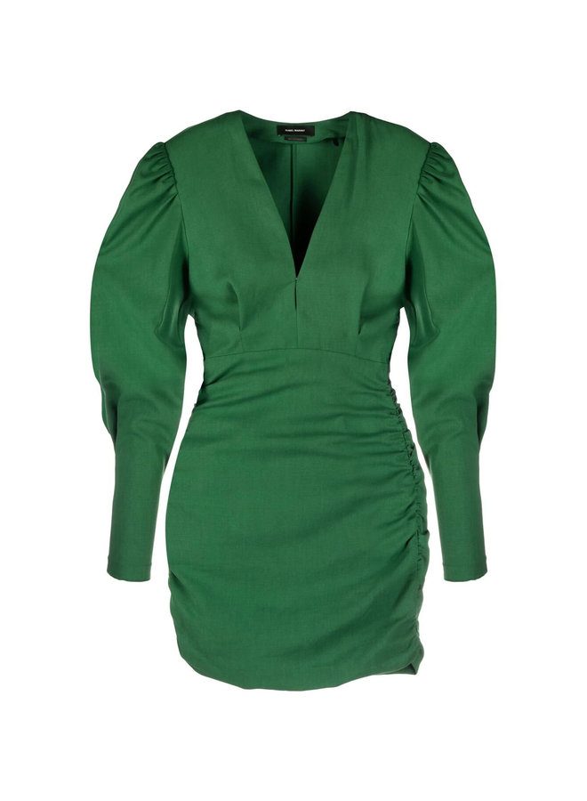 Mini Dress with Puff Sleeves in Cotton in Green