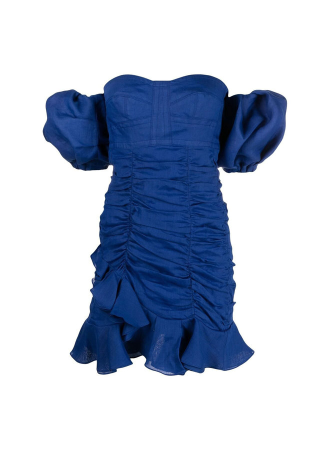 Off Shoulder Draped Mini Dress in Navy