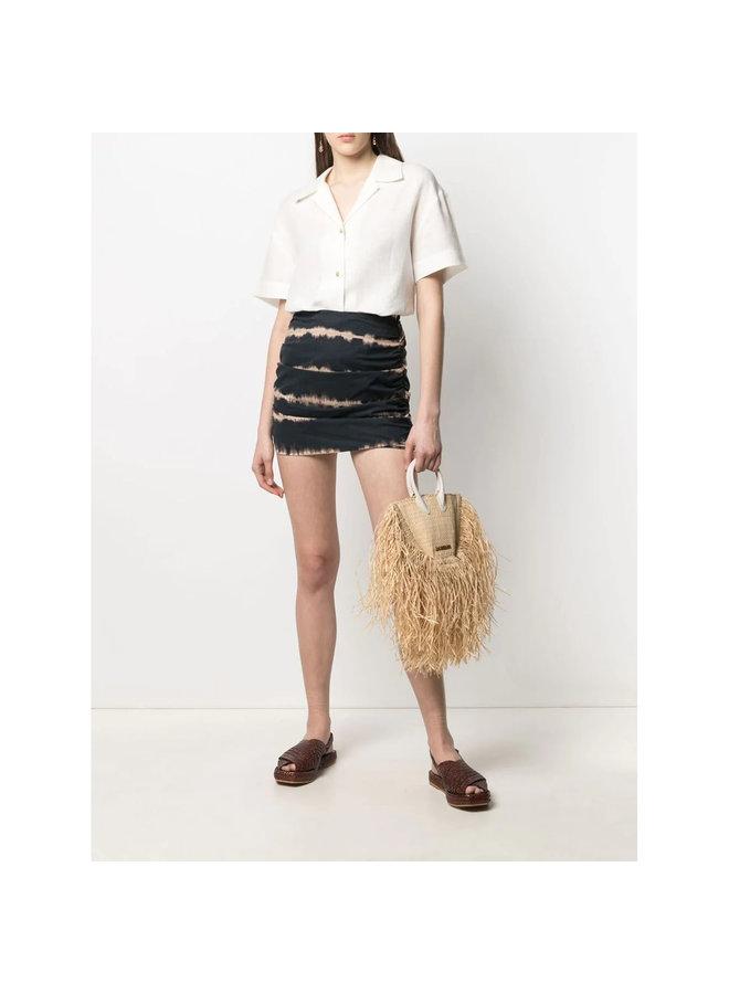 Mini Ruched Skirt in Tie-Dye Print in Black