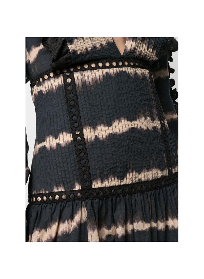 Maxi Dress in Tie Dye Print in Black