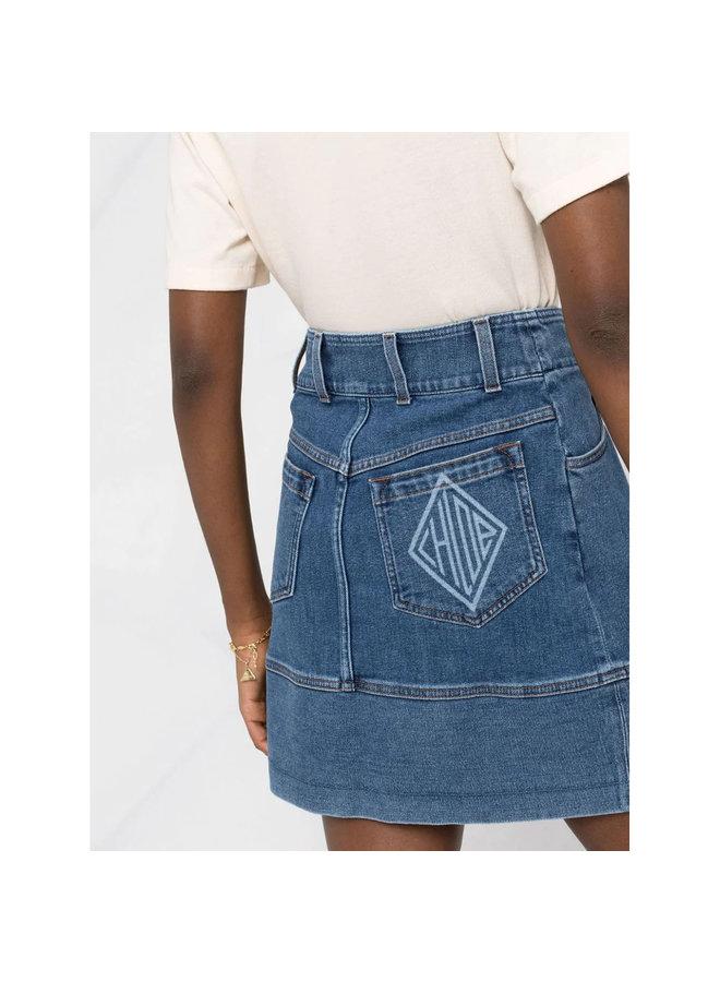 A-Line Mini Skirt in Denim in Moonlight Blue