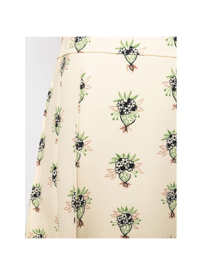 A-Line Mini Printed Skirt in Soft Powder
