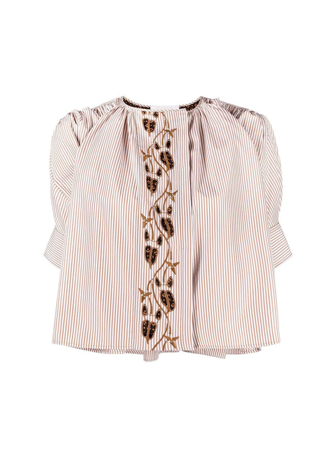 Cropped Striped Embroidered Blouse