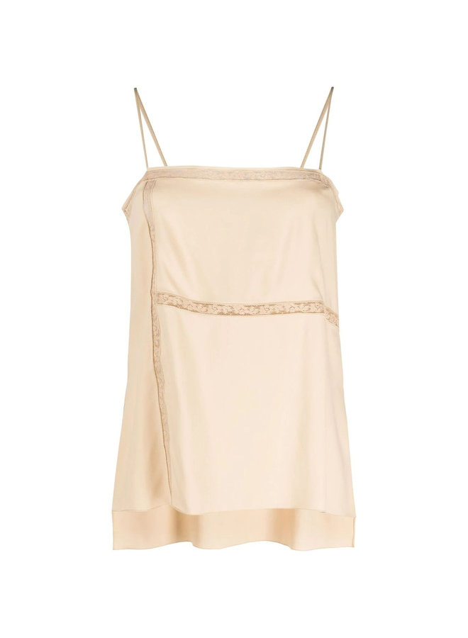 Sleeveless Blouse with Lace-trim