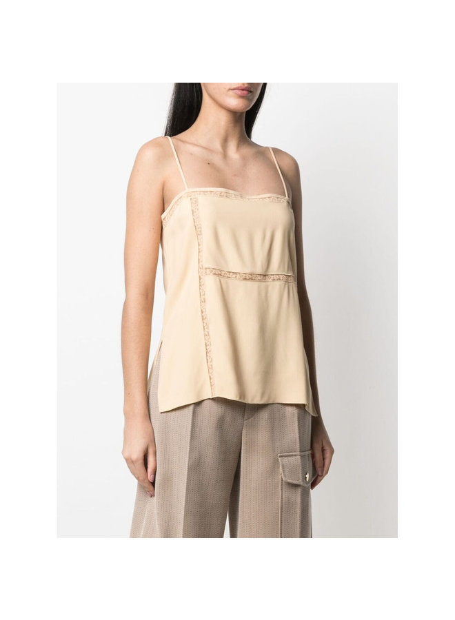 Sleeveless Blouse with Lace-trim in Light Sand