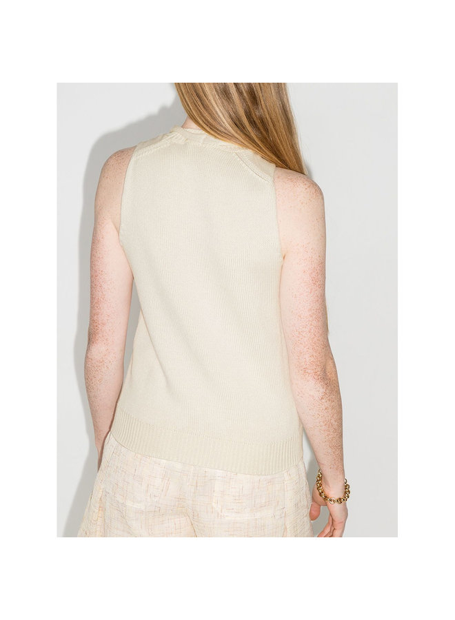 Cut-Out Knitted Tank Top in Eden White