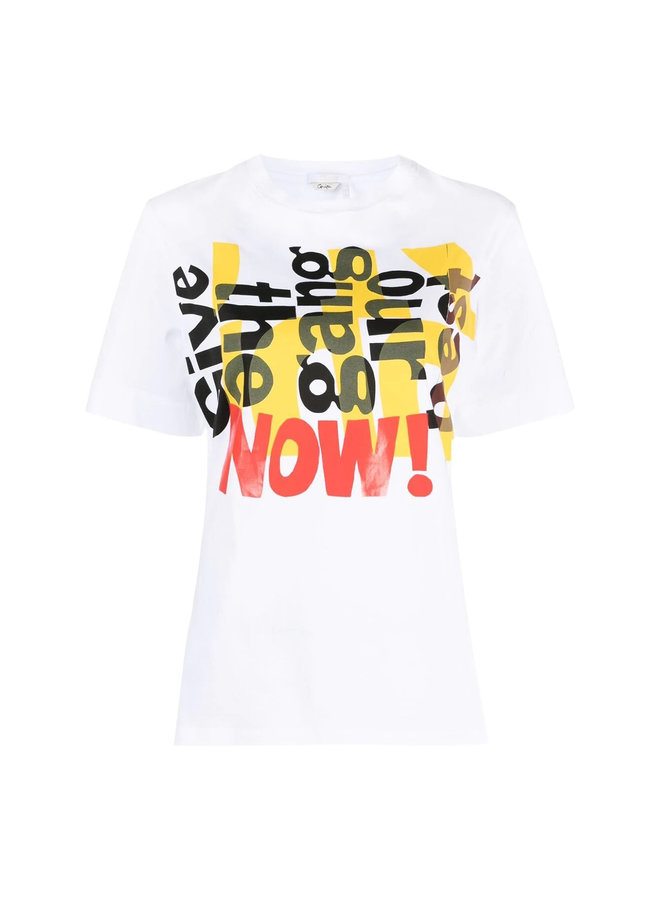 Crew Neck T-shirt with Graphic Print in White