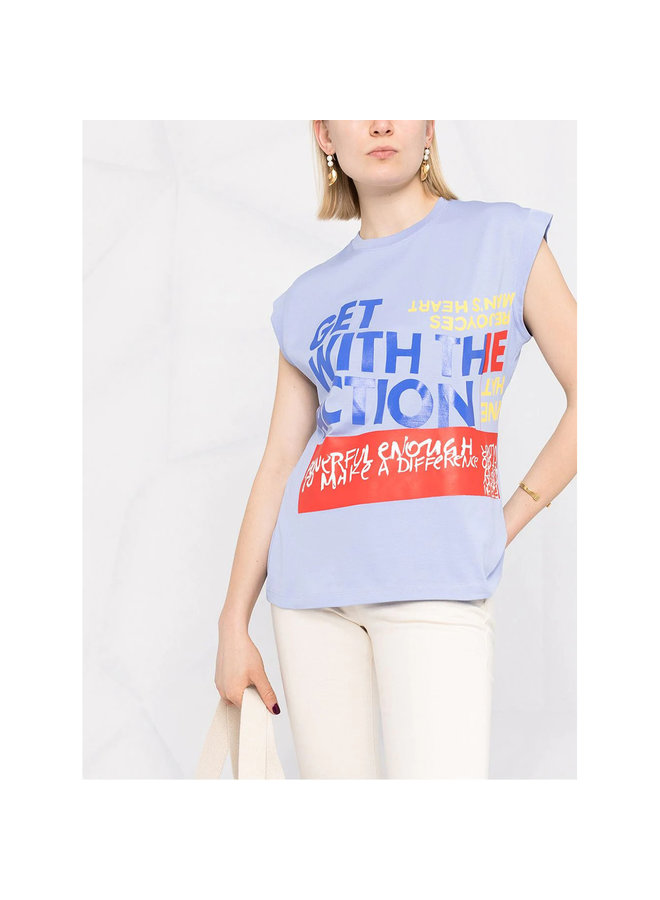 Crew Neck Tank Top with Slogan Print in Tender Blue