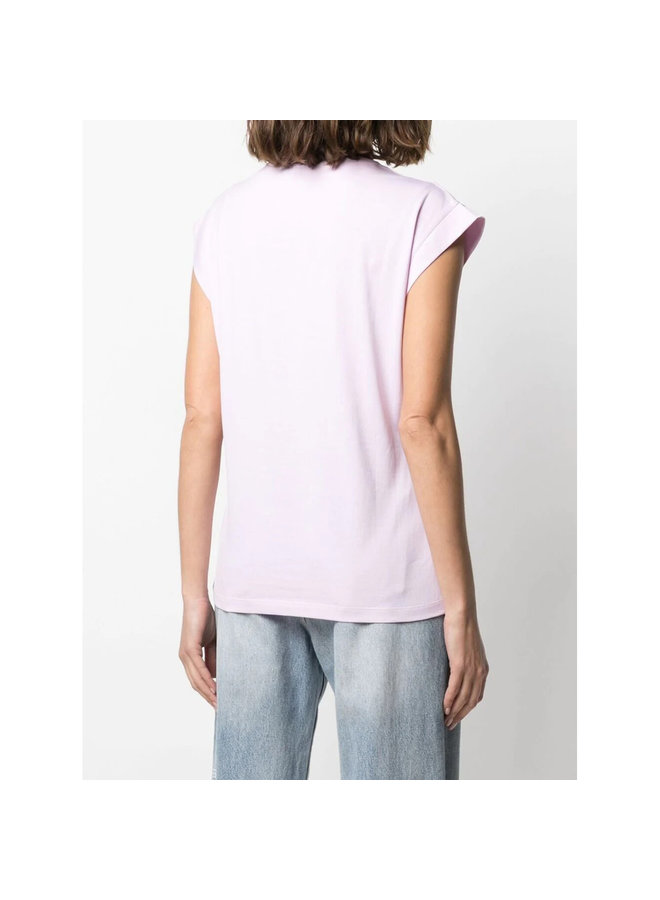 Crew Neck Tank Top in Cotton in Ballerina Pink