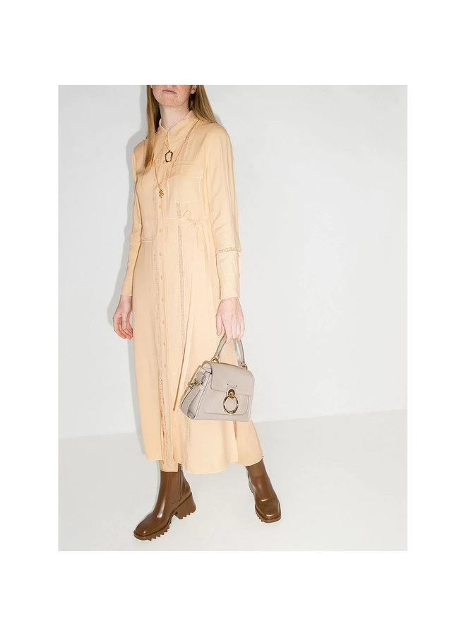 Long Shirt Dress with Lace Details in Light Sand