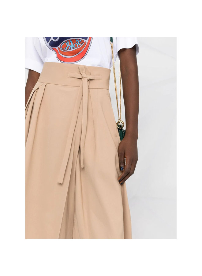 Tie Waist Cropped Pants in Soft Tan