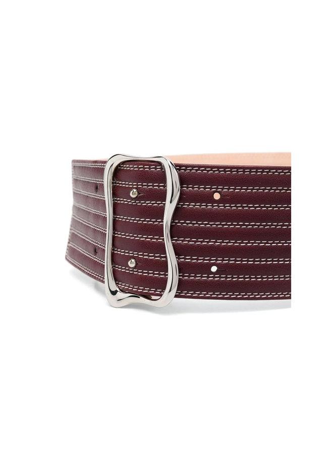 Waist Belt in Leather in Purple Bud
