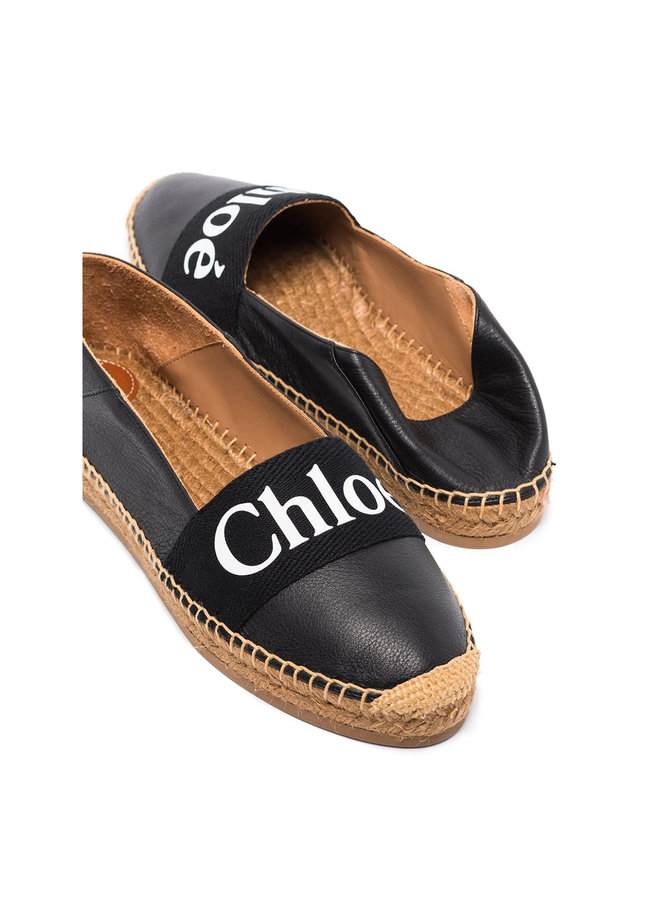 Woody Logo Espadrilles in Leather in Black