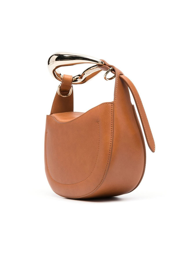 Small Kiss Crossbody Bag in Leather in Arizona Brown