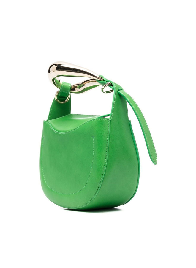 Small Kiss Crossbody Bag in Leather in Vibrant Green