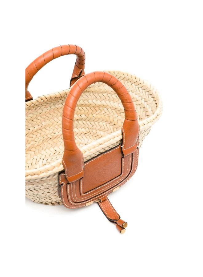 Small Marcie Basket Tote Bag in Raffia in Tan