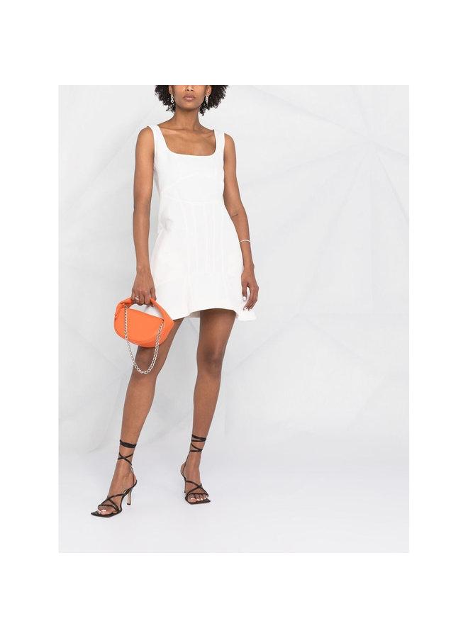 Mini Ruffle Hem Dress in Cotton Linen in Cream