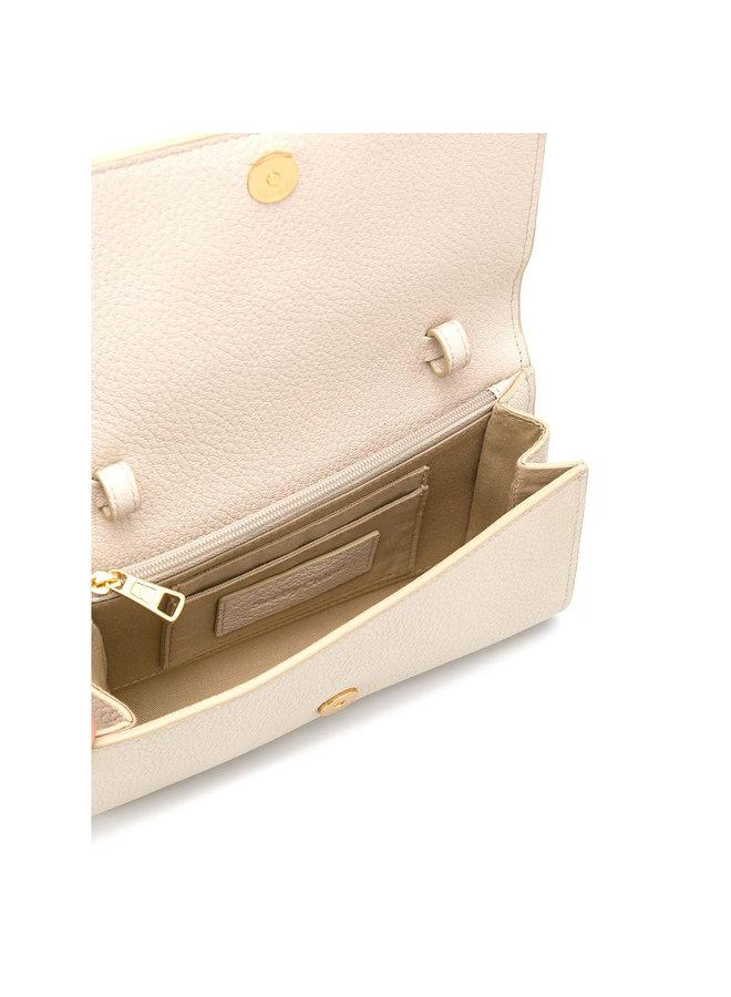 Hana Chain Wallet in Leather in Cement Beige