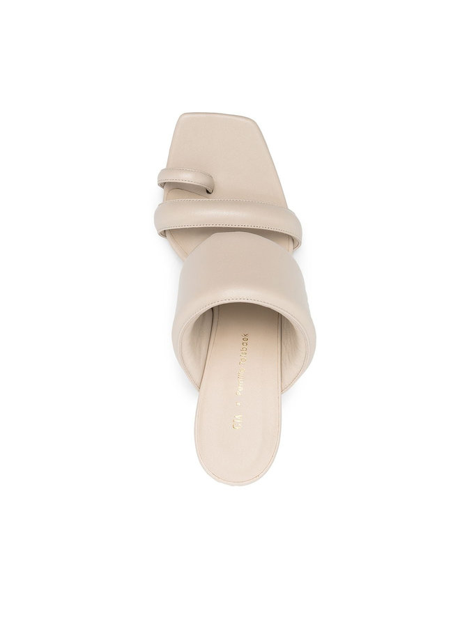 High Heel Mules in Leather in Cream