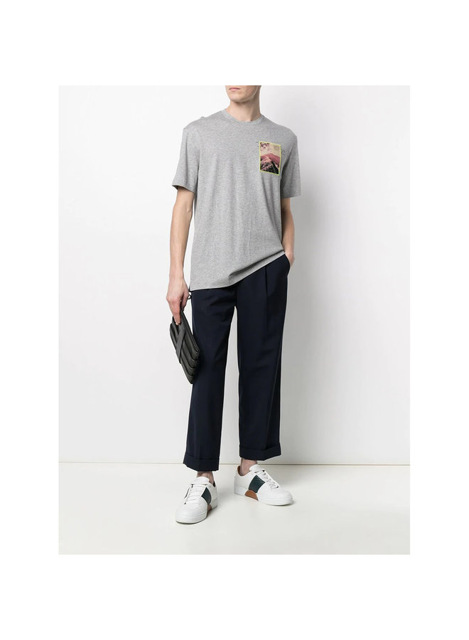 Z Zegna Crew Neck Front Patch T-shirt in Cotton in Light Grey