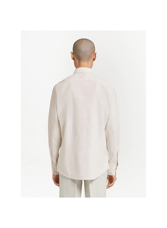 Ermenegildo Zegna Long Sleeve Shirt in Linen in Dust Beige