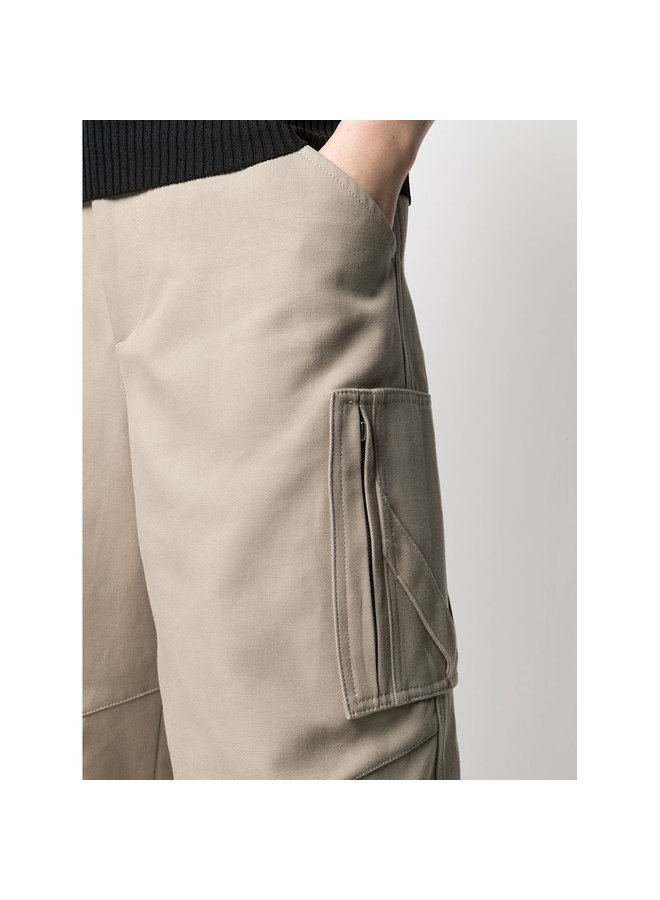 Belted High Waisted Pants in Cotton in Sand