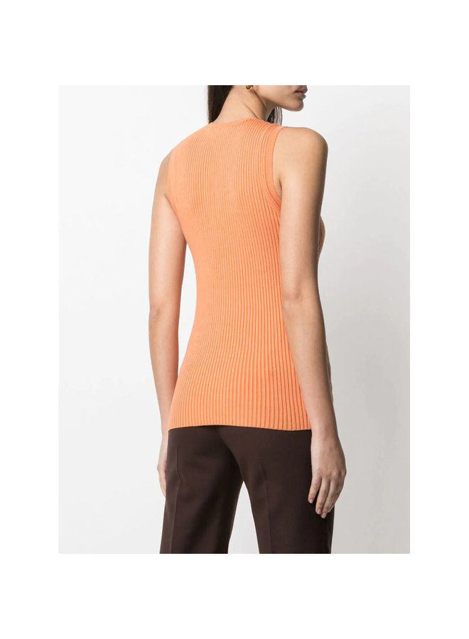 Ribbed Knit Tank Top in Cotton in Carrot